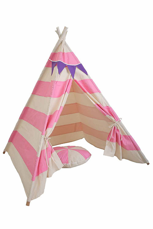 TLF PINK STRIPED TEE PEE TENT WITH MATCHING BUNTING