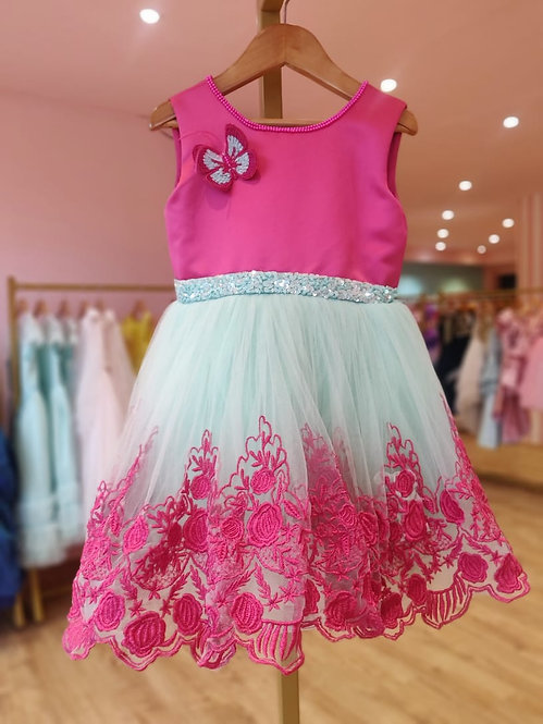 Hot Pink Lace Dress with Hair Accessory