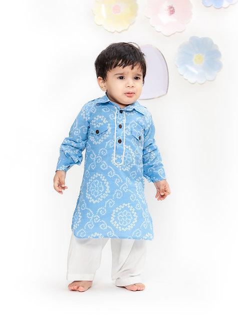 Blue Printed Kurta with White Salwar