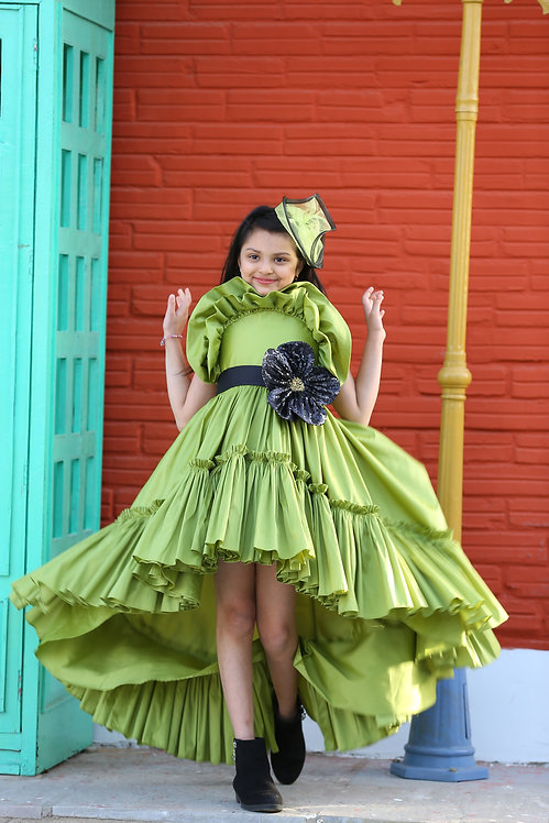Pistachio Tafetta High/Low Dress