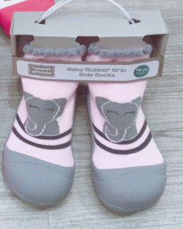 Luvena Fortuna Rubber Grip Sole Socks –Elephant