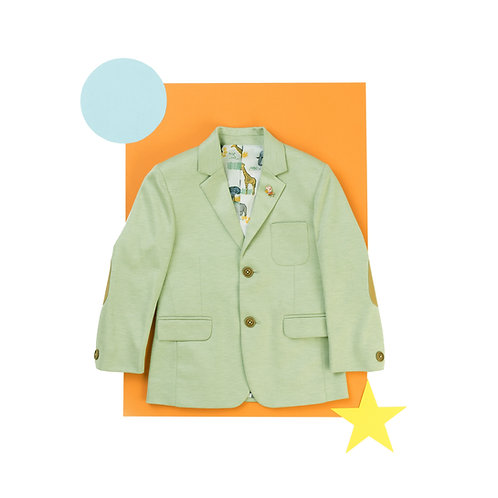 Green Blazer With Tan Color Elbow Patch