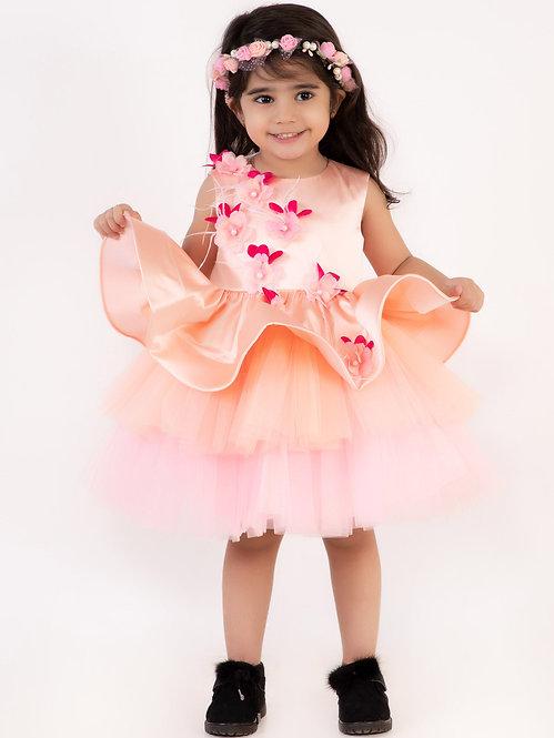 Peach Satin Peplum Dress