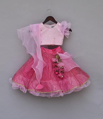 Baby Pink Sequin Choli with Lehenga
