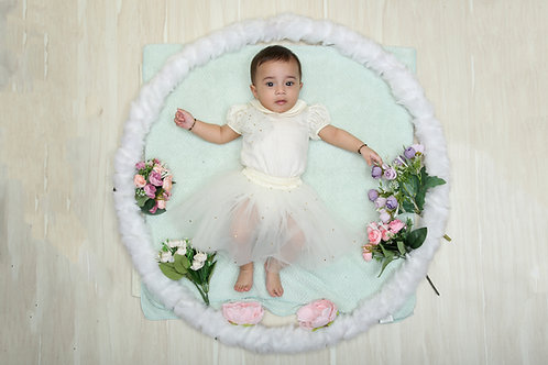 White Romper with Stonework Tutu Skirt