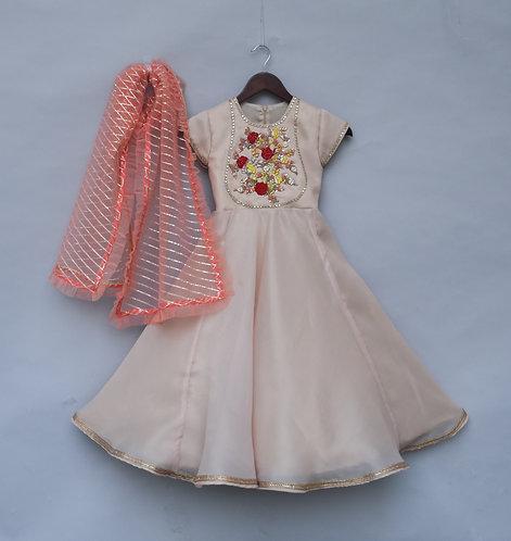Peach Anarkali Dress with Peach Dupatta