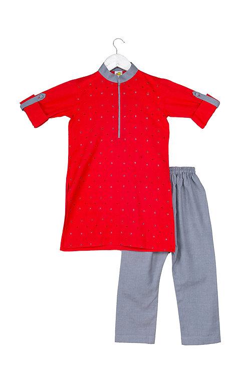 Cross Red Embroidered kurta and pyjama set