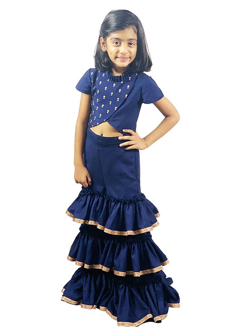 Navy Sharara with Lace and Emb Top