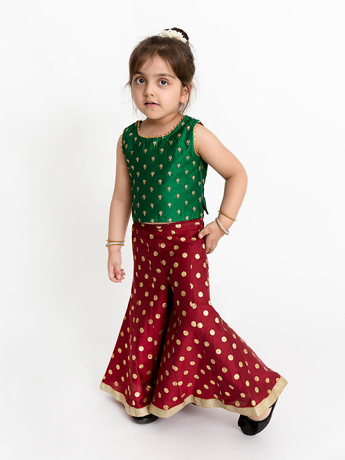 Girls Embroidered Top With Polka Foil Print Palazzo -Green