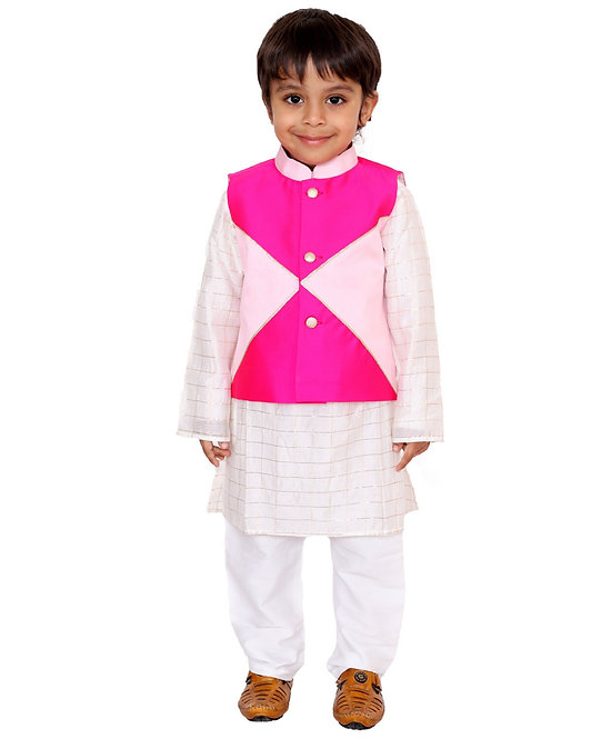 Pink Box Nehru Jacket With Kurta And Pants- Set Of Three