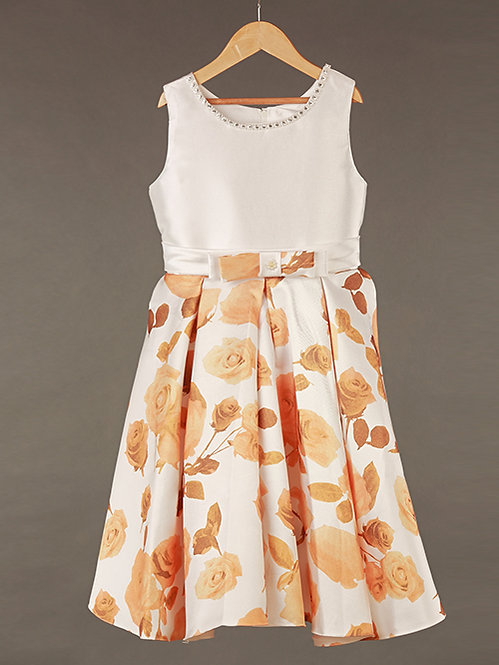 Yellow Floral Silk Gown