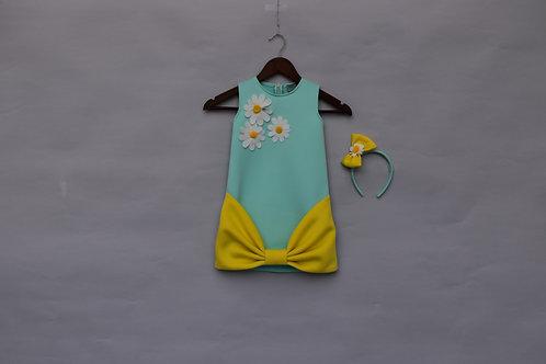 Sea Green and Lemon Yellow Lycra Dress