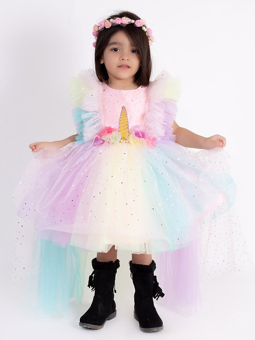 Unicorn High-Low Dress With Hair Accessory