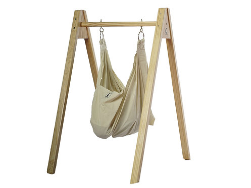 Baby Hammock/Cradle with Stand - Organic Cotton and Wood
