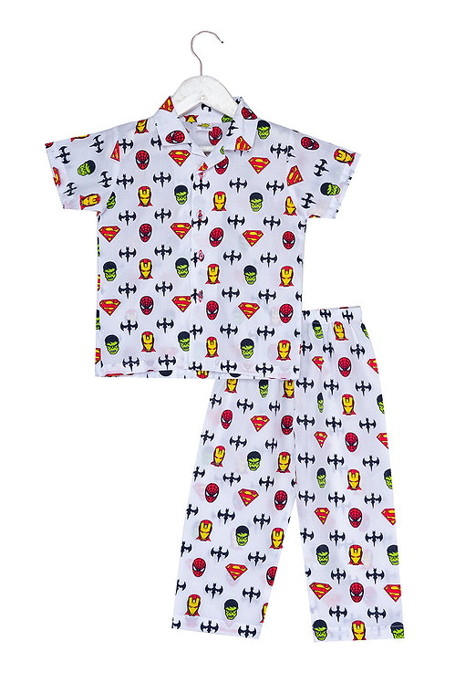 Printed half sleeve nightsuit set super hero