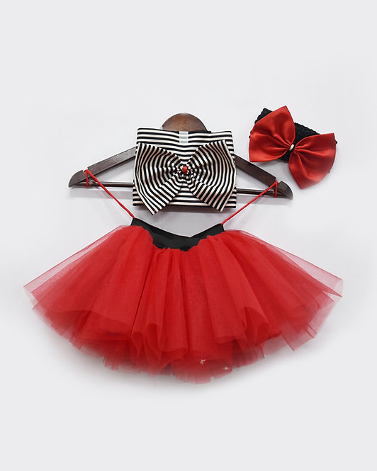 Black and White Strip Top with Red net Tutu Skirt
