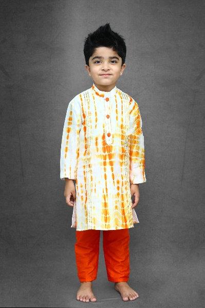 Gota Work Tie and Dyed Kurta; Chudidar