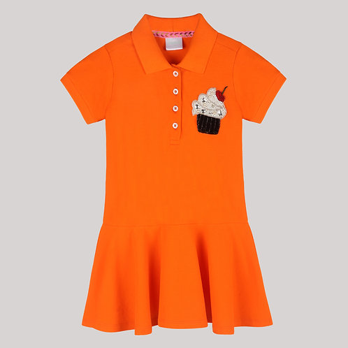 Girls Polo Dress In Drop Waist Silhouette And Muffin With Cherry Motif