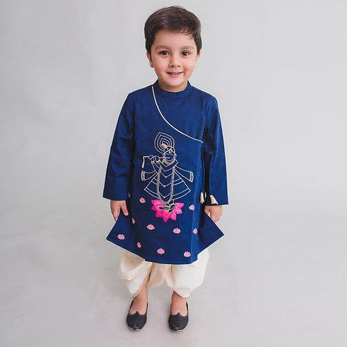 Boy Blue Kurta Dhoti Set Krishna Murli