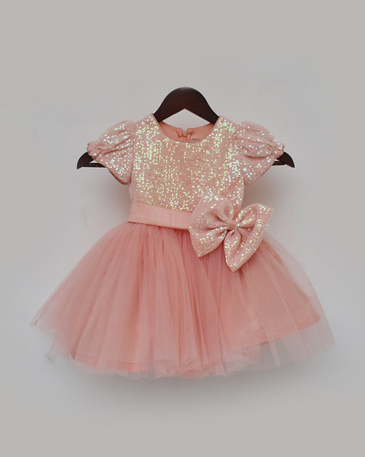 Peach Sequence and Net Frock