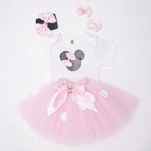 Half Sleeves Bow Detailed Patch Onesie With Skirt & Headband - White & Pink