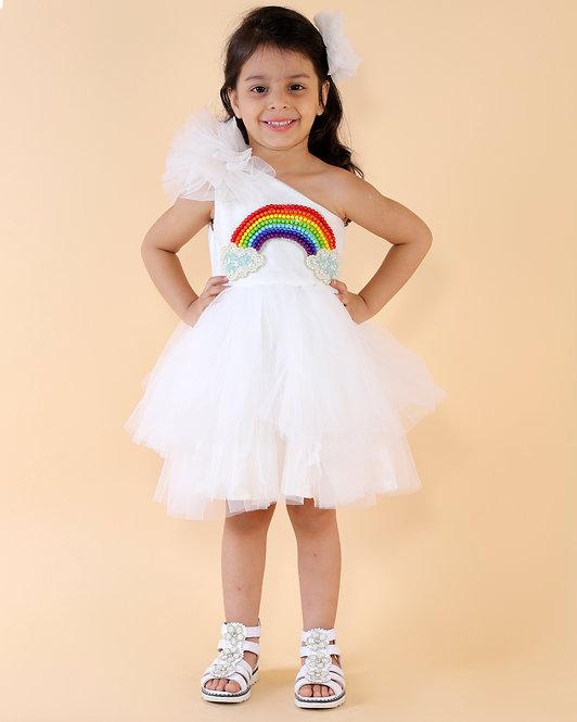 One Shoulder Rainbow Dress
