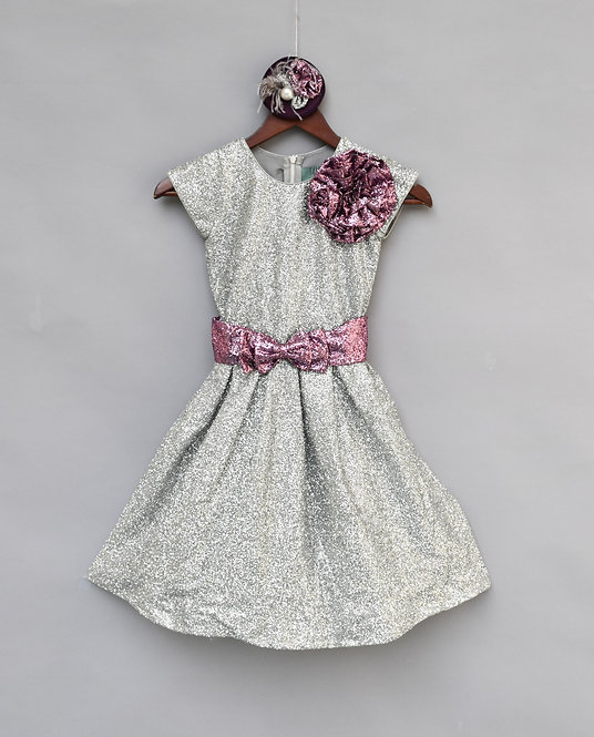 Silver Glitter Sequence Frock