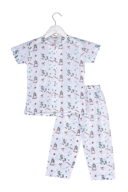 Printed half sleeve nightsuit set Ns Ponies