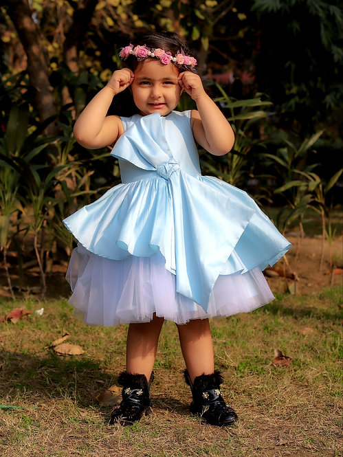Blue Tafetta Bow Dress