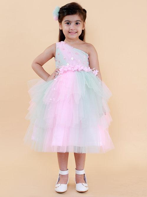 Blue Pink Shaded Flower Dress
