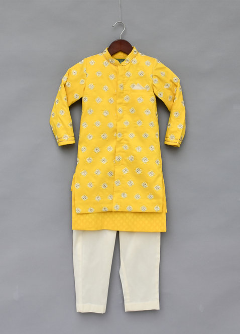 Yellow Embroidery Jacket with Kurta and Pant