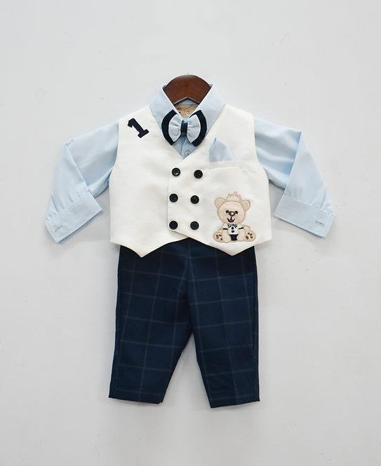 Blue Shirt with Pant and White Waist Coat Set
