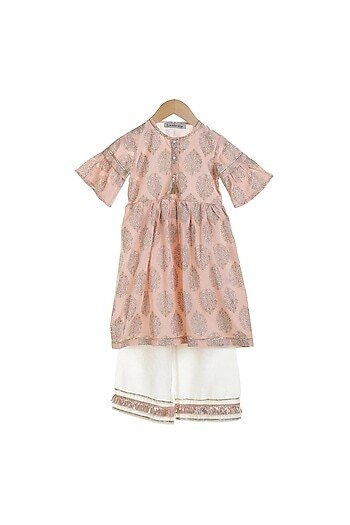 Peach Printed Kurta Set