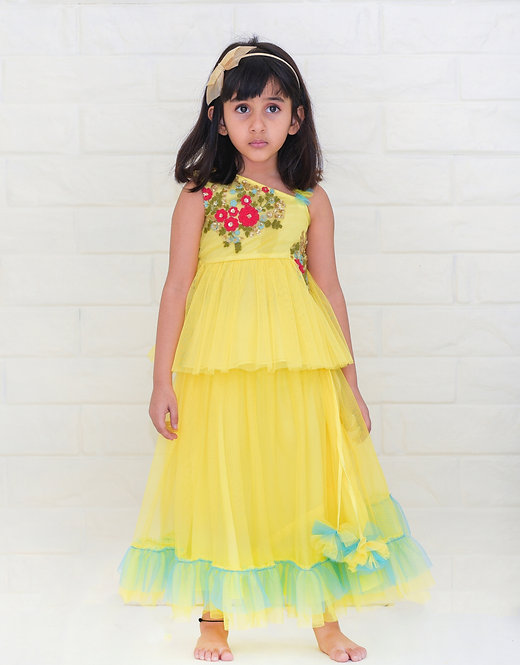 Yellow  Peplum Hand Embroidered Top And  Frill Skirt