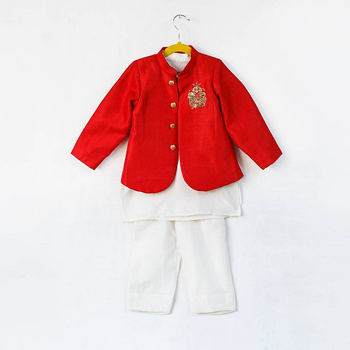 Red Embroidered Blazer With Kurta Pant