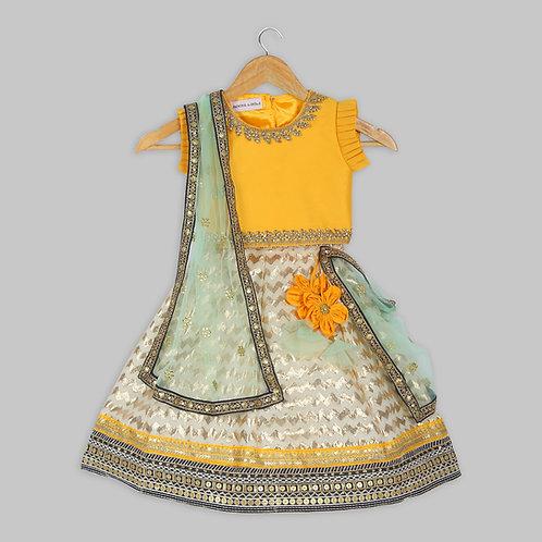 Yellow Choli Off White Lengha With Dupatta
