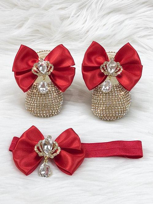 Cinderella Shoes & Headband - Cherry Red