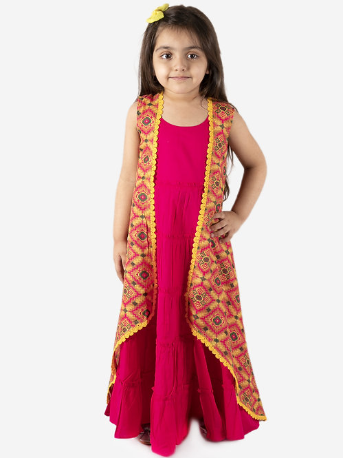 Stylish Cotton Gown With Printed Cape- Fucshia