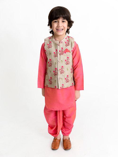 Kurta Dhoti With Jacket Set-Fuschia