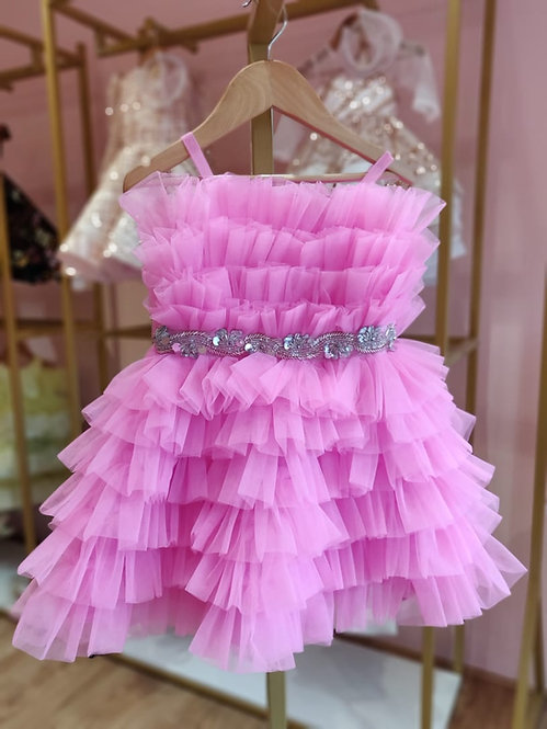 Ruffled Hot Pink Dress With Fancy Belt