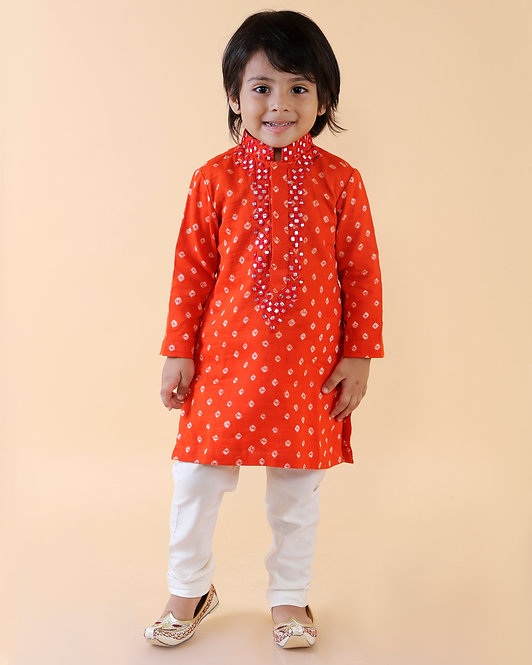 Orange Embroidered Bandhej Kurta Set