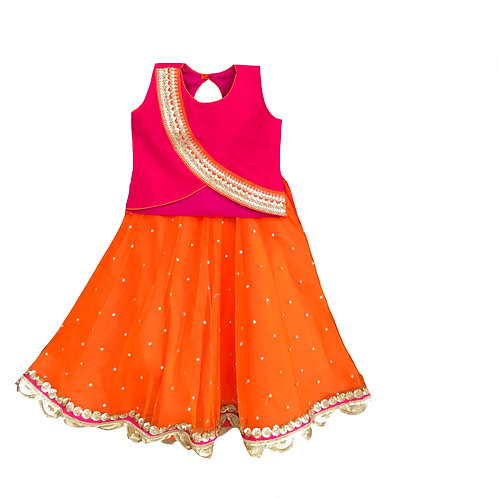 Pink Top With Orange Lehenga Set