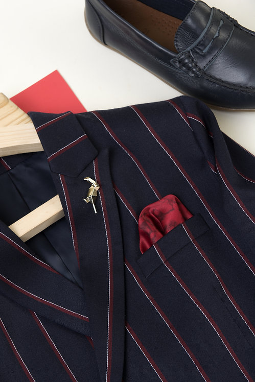 Blue Check Suit With Red Shirt