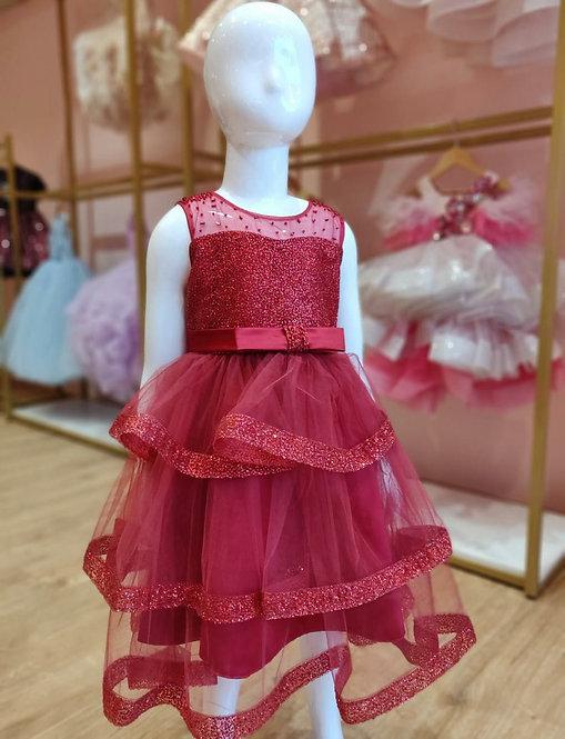 RS-Wine Glitter Dress