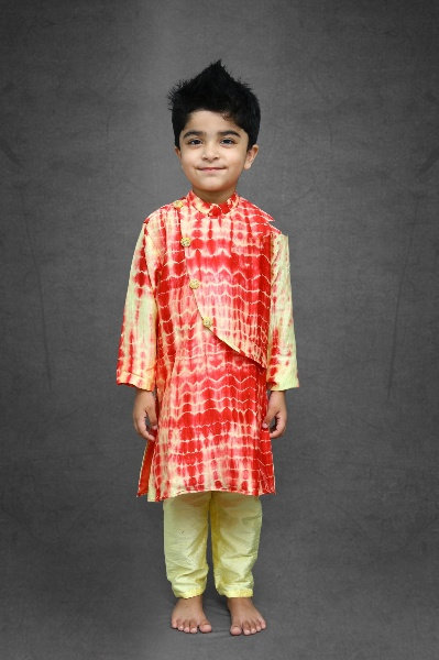 Tie and Dyed Yellow red Kurta with pale yellow chudidar