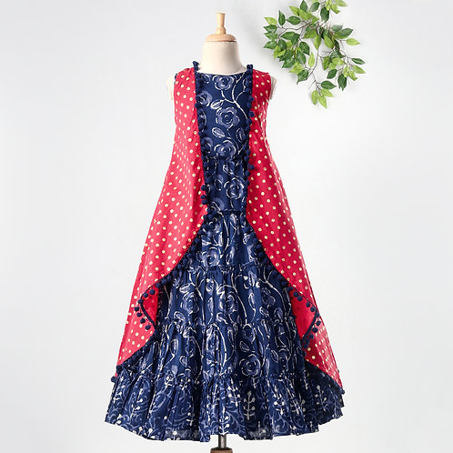 Stylish Girls Tiered Dress With Printed Cape-Navy Blue