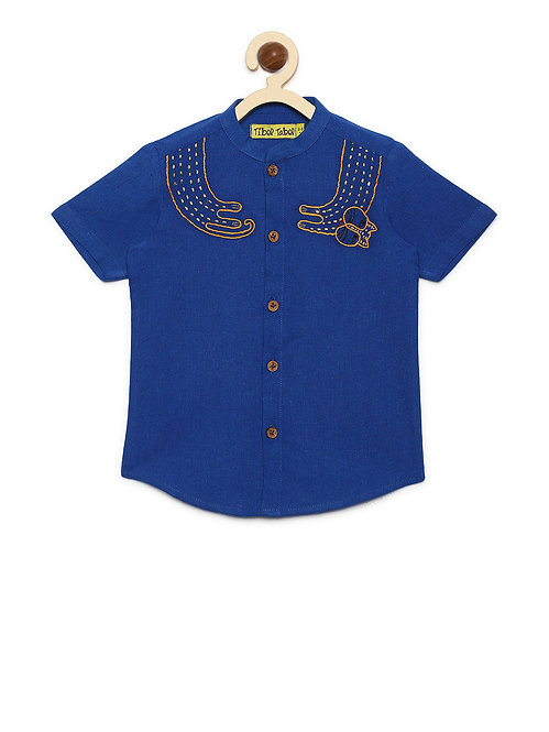 Boys Shirt Blue Collar Cat