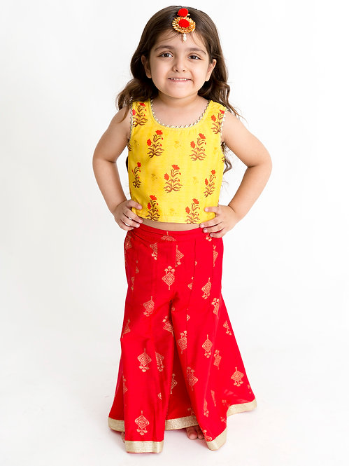 Girls Chanderi Print Top With Printed Palazzo Set -Red