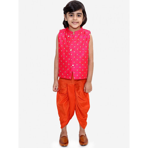 Embroidered Jacket With Dhoti Set -Red