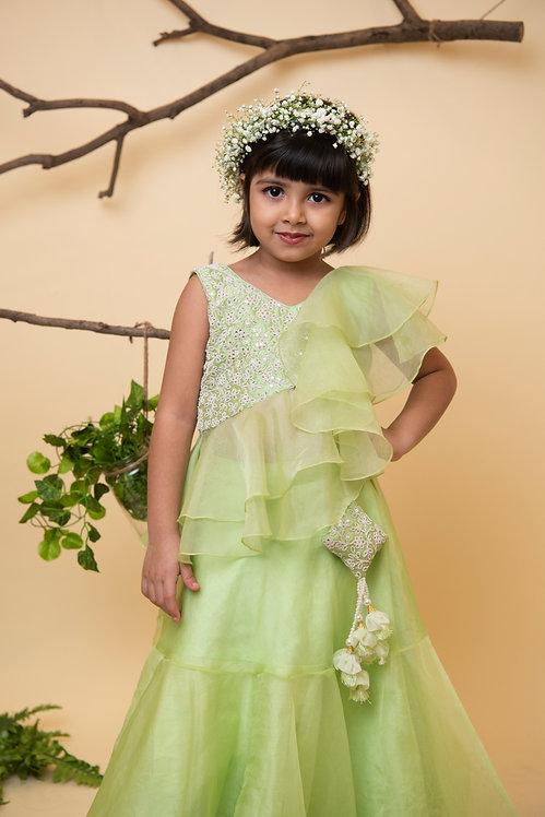 Green Heavy Ghaghra